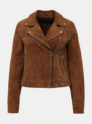 Hnedá kožená bunda VERO MODA Royce Salon