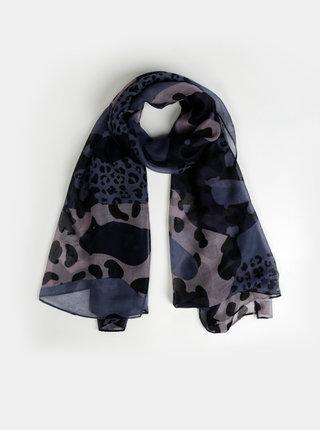 Tmavě modrý šátek s leopardím vzorem ONLY Leo Leo