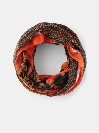 Hnědý dámský dutý šátek s gepardím vzorem Tom Tailor Denim