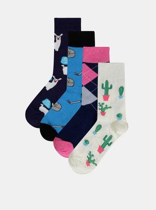 Sada štyroch párov vzorovaných ponožiek v modrej a krémovej farbe Bellinda Crazy