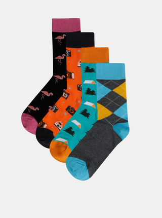 Sada štyroch párov vzorovaných ponožiek v modrej a oranžovej farbe Bellinda Crazy