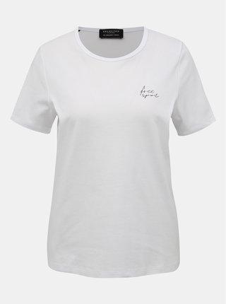 Biele tričko s potlačou Selected Femme Iris