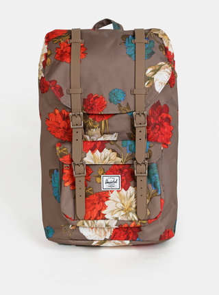 Hnedý kvetovaný batoh Herschel Supply Little America Mid 17 l