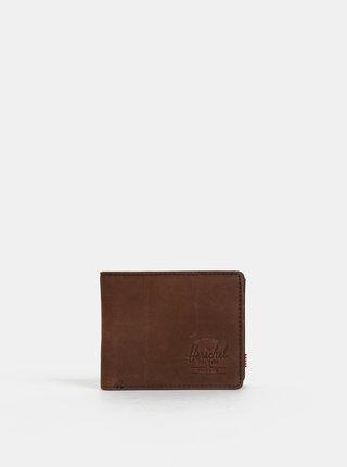 Hnědá kožená peněženka Herschel Supply Hank