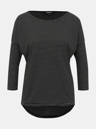 Čierne dámske pruhované basic tričko ZOOT Jasmine