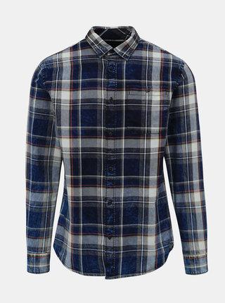 Modrá kockovaná slim fit košeľa Jack & Jones Prindigo