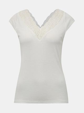 Bílé tričko s krajkou ONLY Rose