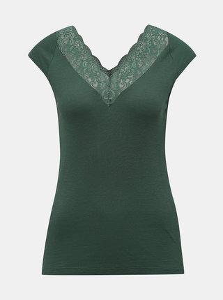 Zelené tričko s krajkou ONLY Rose
