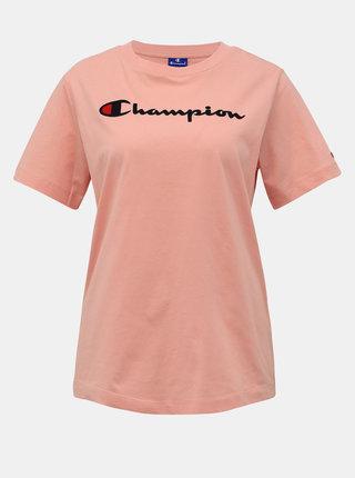 Rúžové dámske tričko s potlačou Champion