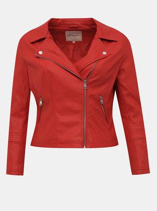 Červená koženková bunda ONLY CARMAKOMA Emmy