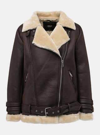 Tmavohnedá koženková zimná bunda ONLY Via