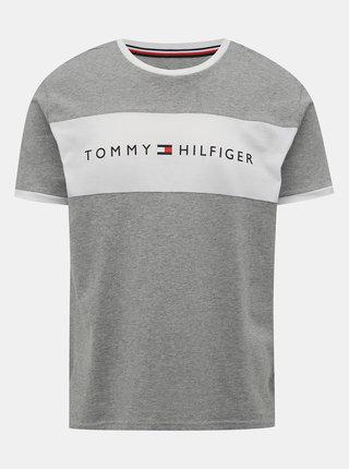Šedé pánske tričko s potlačou Tommy Hilfiger