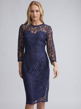 Tmavomodré krajkové šaty Dorothy Perkins Tall