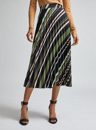 Zeleno-černá pruhovaná plisovaná midi sukně Dorothy Perkins