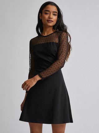 Černé puntíkované šaty Dorothy Perkins Petite