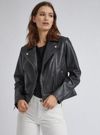 Čierna kožená bunda Dorothy Perkins