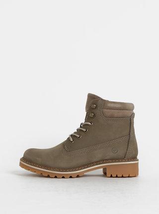 Kaki zimné kožené členkové topánky Tamaris