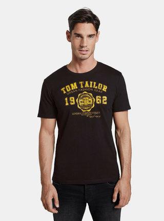 Čierne pánske tričko s potlačou Tom Tailor