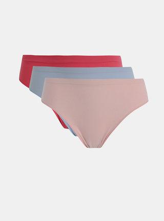 Sada troch nohavičiek v rúžovej a modejé farbe Pompea Feel Touch