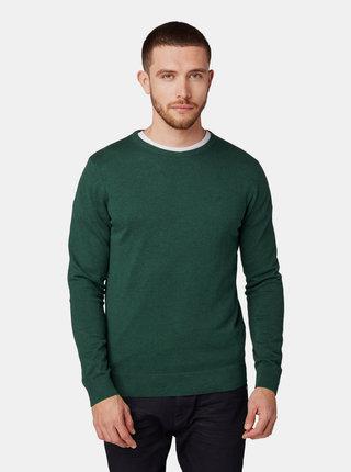 Tmavě zelený pánský basic svetr Tom Tailor