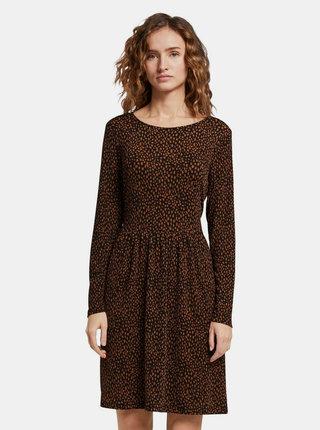Hnedo-čierne šaty s gepardím vzorom Tom Tailor Denim