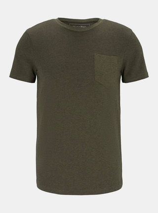 Kaki pánske vzorované tričko Tom Tailor Denim