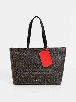 Tmavě hnědá vzorovaná kabelka s odnímatelným pouzdrem 2v1 Calvin Klein Jeans