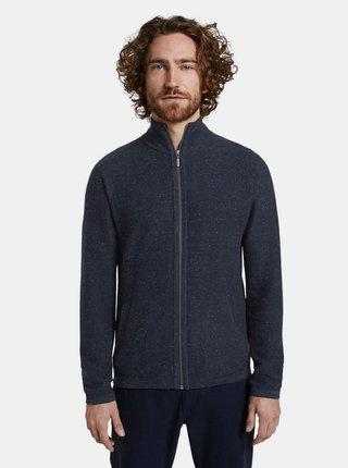 Tmavě modrý pánský svetr na zip Tom Tailor