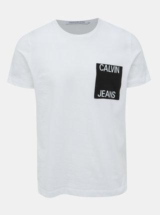 Bílé pánské tričko s náprsní kapsou Calvin Klein Jeans