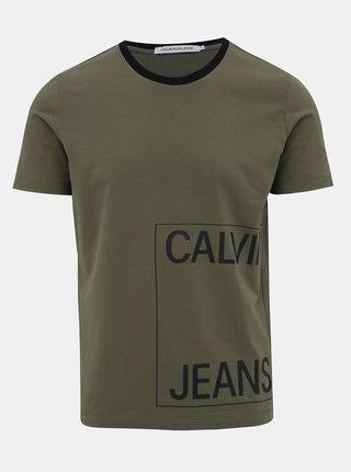 Khaki pánské tričko s potiskem Calvin Klein Jeans