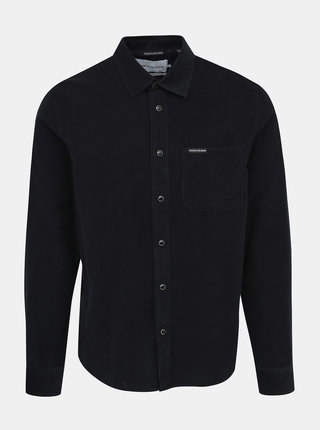Černá pánská manšestrová regular fit košile Calvin Klein Jeans