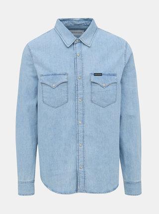 Světle modrá pánská džínová košile Calvin Klein Jeans