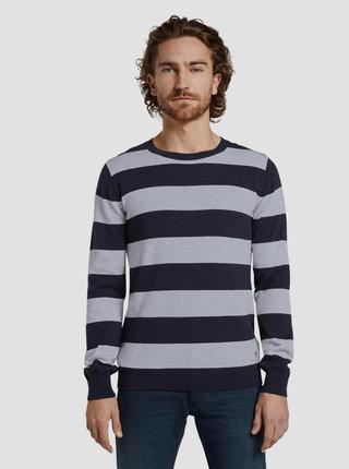 Šedo-modrý pánsky pruhovaný sveter Tom Tailor