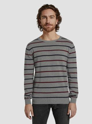 Šedý pánsky pruhovaný sveter Tom Tailor