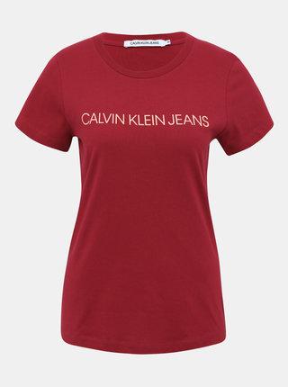 Vínové dámske tričko s potlačou Calvin Klein Jeans
