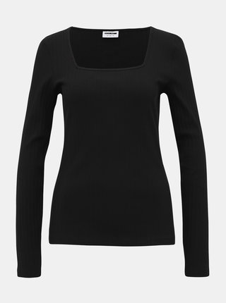 Čierne rebrované tričko Noisy May Monica