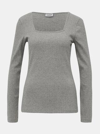Světle šedé žebrované tričko Noisy May Monica