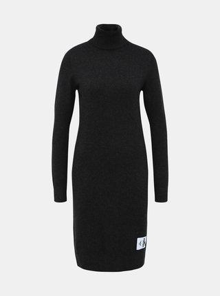 Tmavě šedé svetrové šaty s příměsí vlny Calvin Klein Jeans
