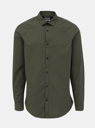 Kaki vzorovaná slim fit košeľa ONLY & SONS Sane