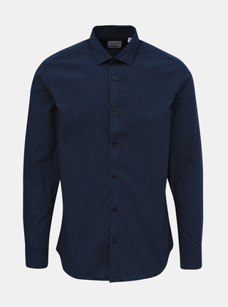 Tmavě modrá vzorovaná slim fit košile ONLY & SONS Sane