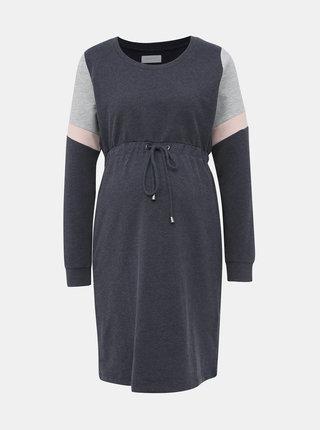 Tmavě modré mikinové těhotenské šaty Mama.licious Mena