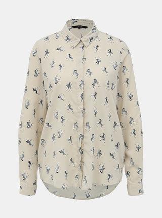 Krémová vzorovaná košeľa VERO MODA Fedora