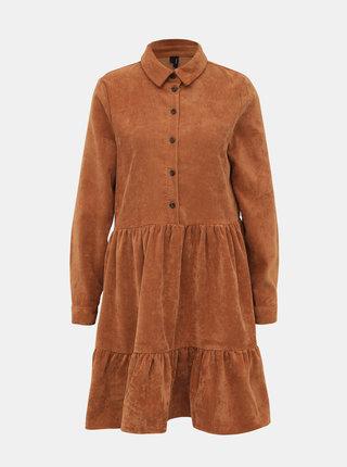 Hnědé manšestrové košilové šaty VERO MODA Kennedy