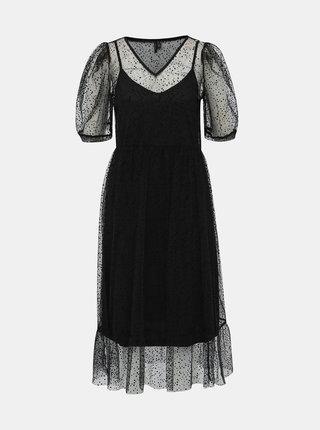 Čierne bodkované šaty VERO MODA Masha