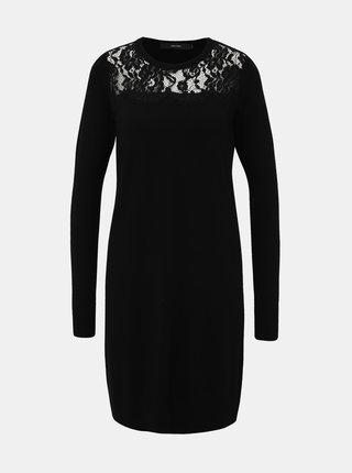 Čierne svetrové šaty VERO MODA Lacole