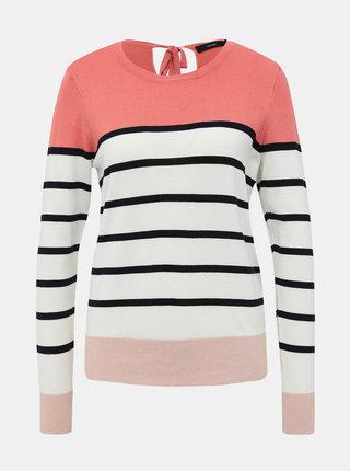 Ružovo-krémový pruhovaný sveter VERO MODA Lacole