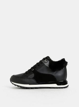 Černé dámské kožené zimní voděodolné tenisky Geox Aneko