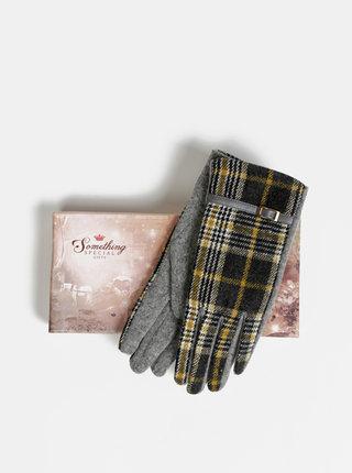 Šedé kockované vlnené rukavice Something Special