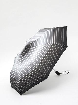 Tmavošedý pruhovaný skladací vystrelovací dáždnik Esprit