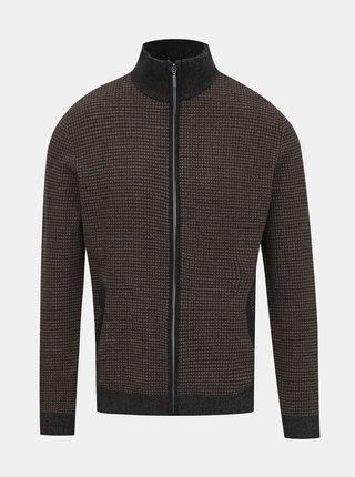 Tmavohnedý pánsky sveter na zips Tom Tailor